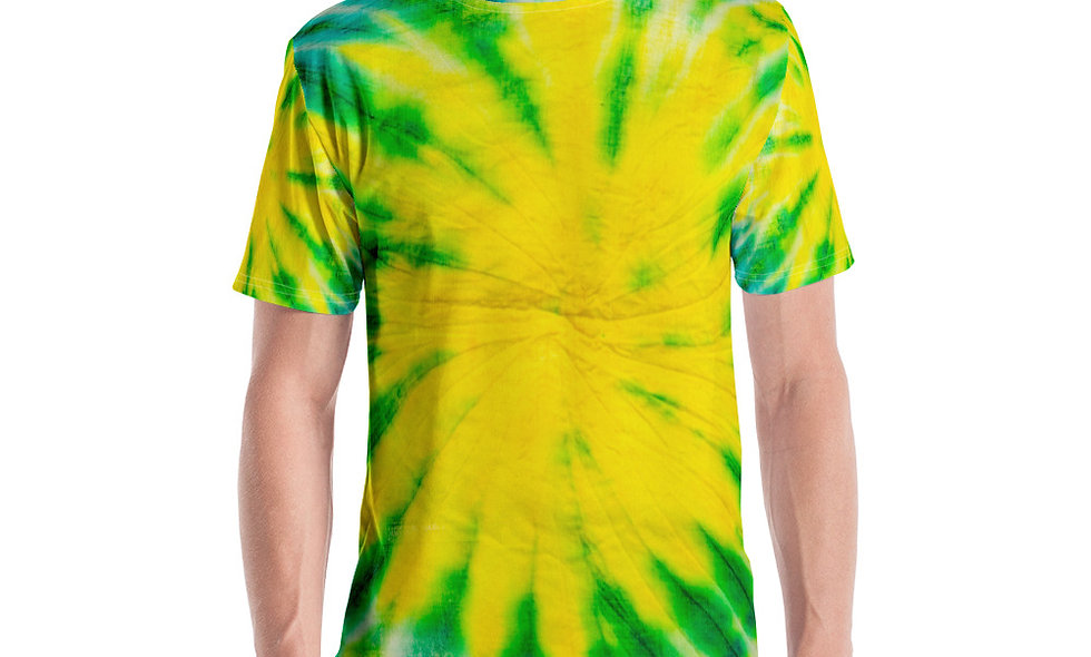 Green and Yellow Spiral Tie Dye Men's T-shirt