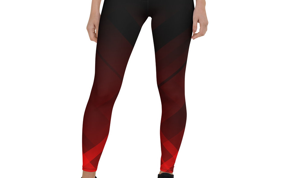 Charcoal and Fire Slow Burn Leggings for Women - Red and Black