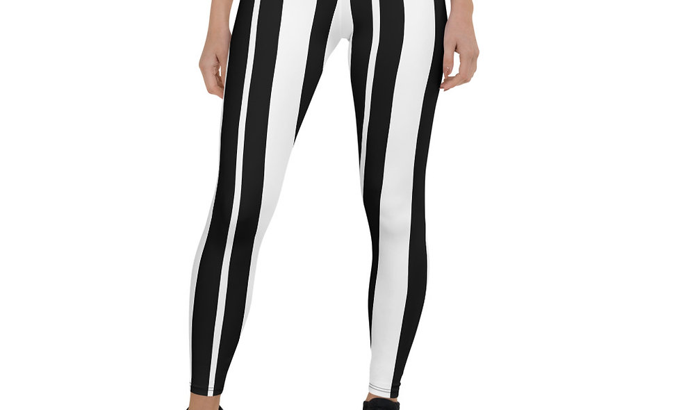 Black and White Striped Beetlejuice Leggings