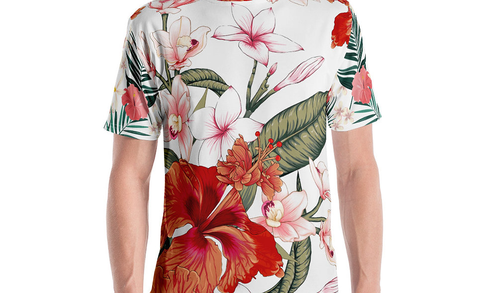 Japanese Red Flower T-Shirt | Unique All Over Print