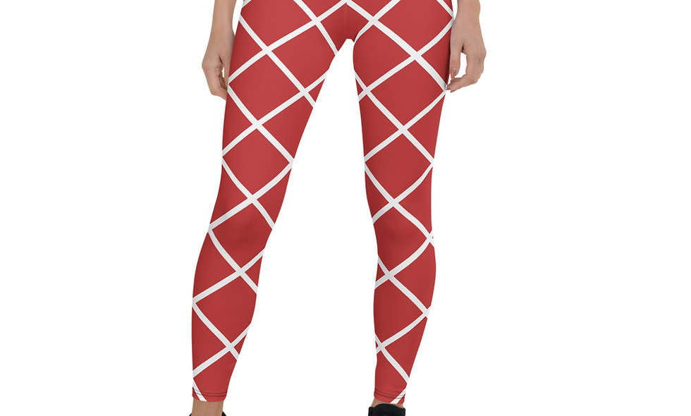 Spanish Tile Red and White Leggings for Women - Red and White