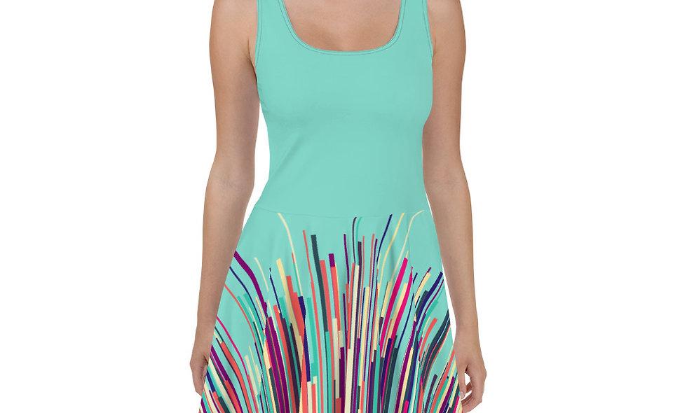Retro Explosion Skater Dress - Unique Multi-color Streak Design