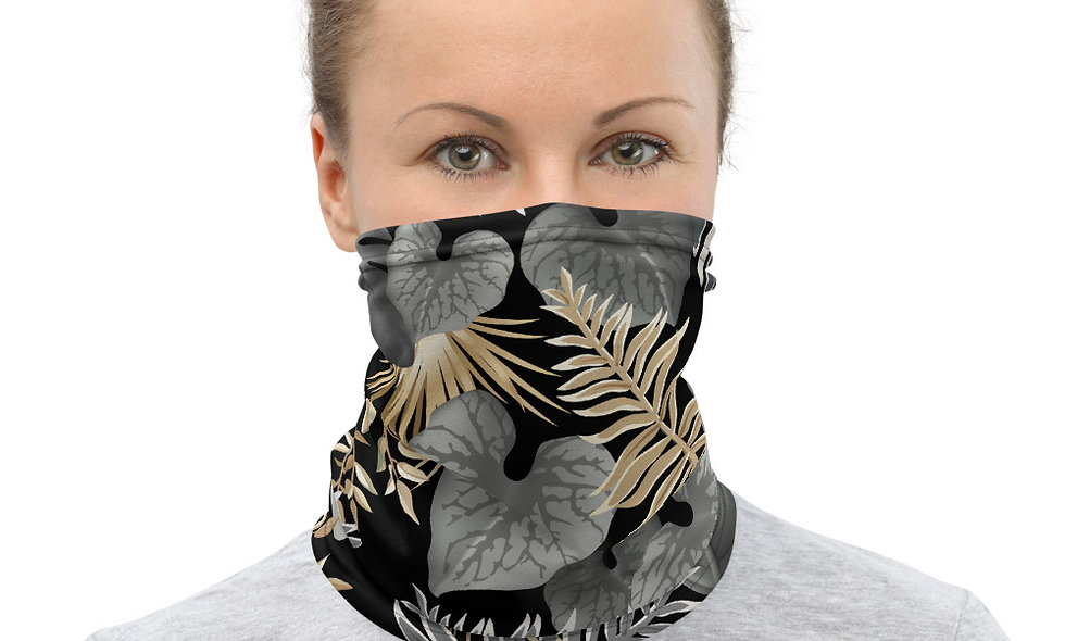 Black, White and Gold Leaf Pattern Neck Gaiter