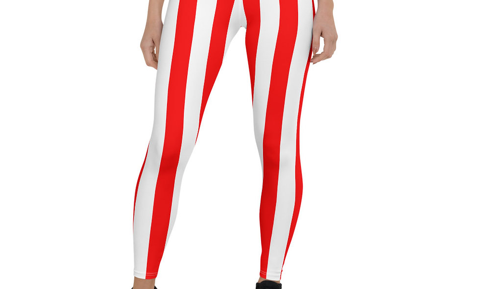 Red and White Vertical Striped Leggings for Women - Candy Cane