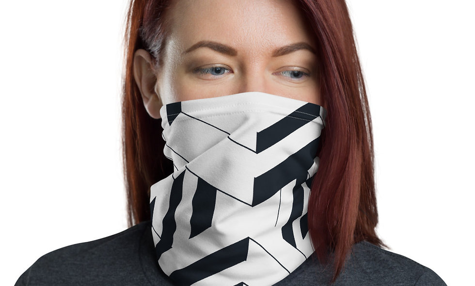 Black and White Isometric Pattern Neck Gaiter