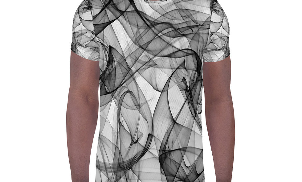 Black and Grey Smoke All-Over Print Men's Athletic T-shirt