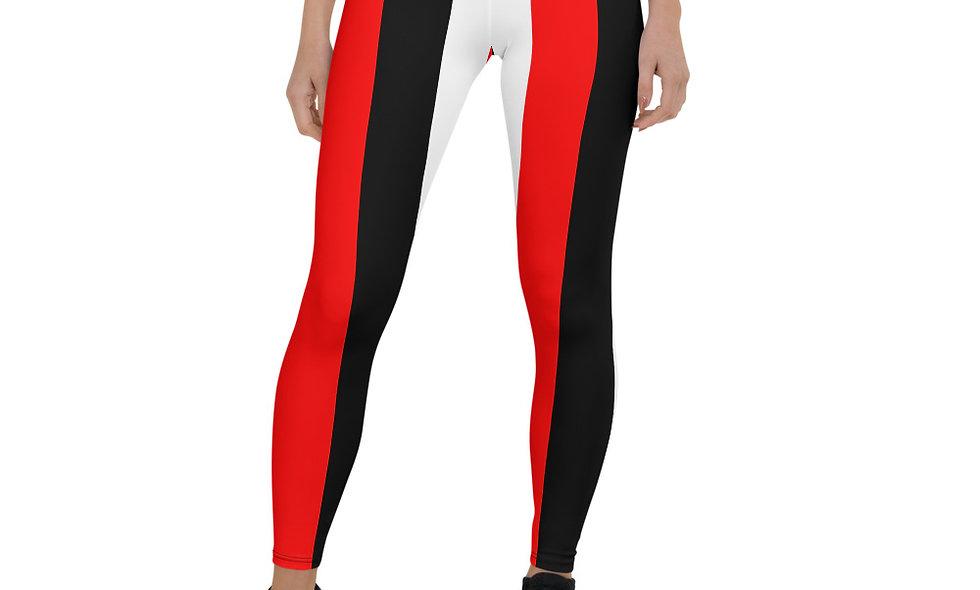 Red, White, and Black Striped Leggings for Women