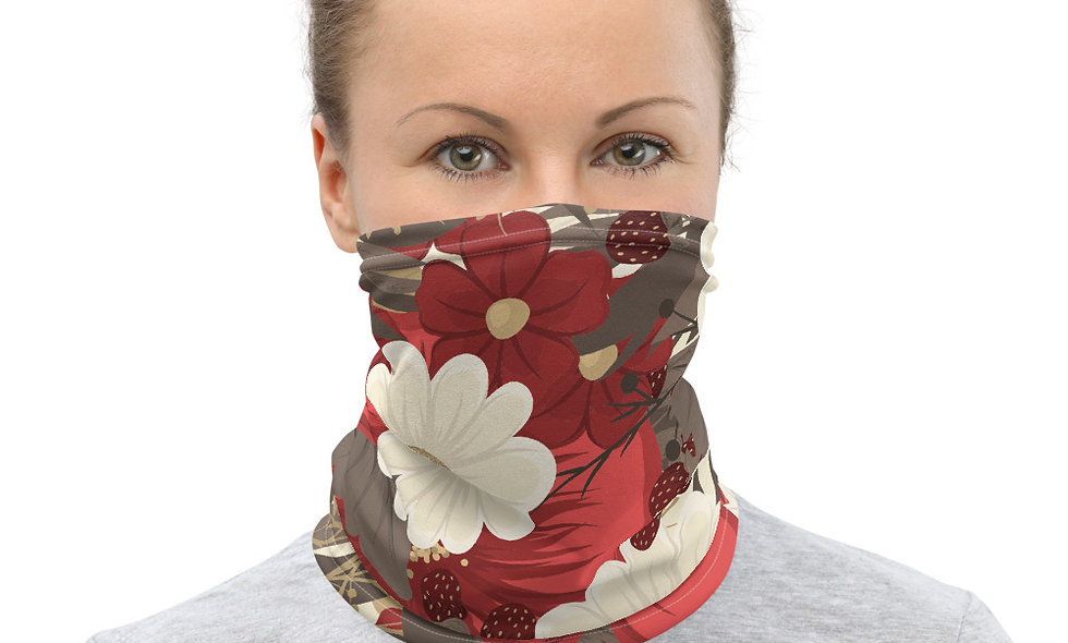 Stylish in Red and White Floral Pattern Neck Gaiter
