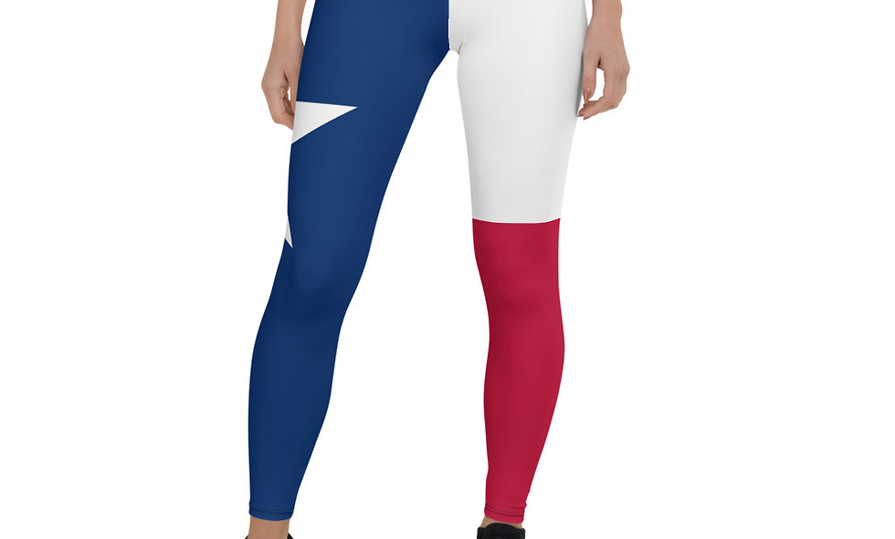 Texas Flag Leggings - Lone Star State Leggings - Red White and Blue