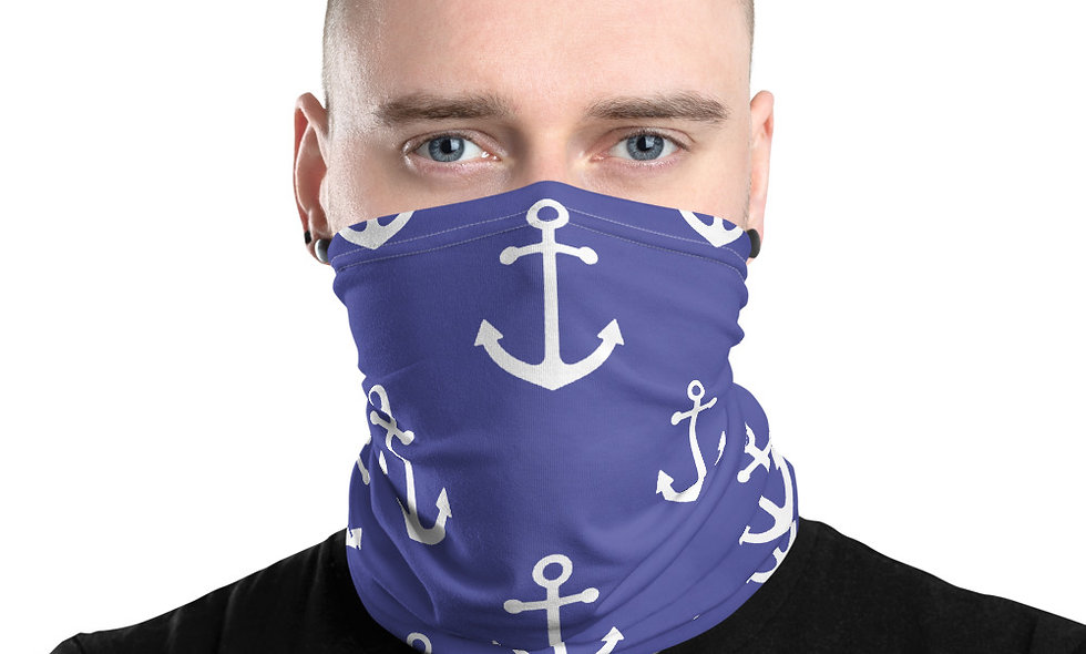 Anchor Tile Pattern in Blue Neck Gaiter