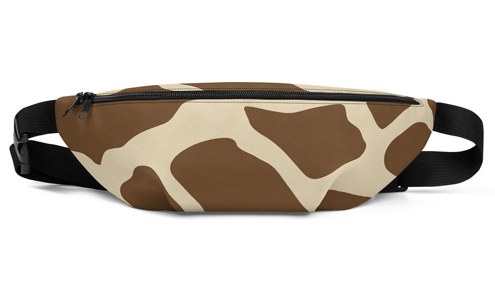 Giraffe Print Fanny Pack - Tan and Brown Trendy Animal Print