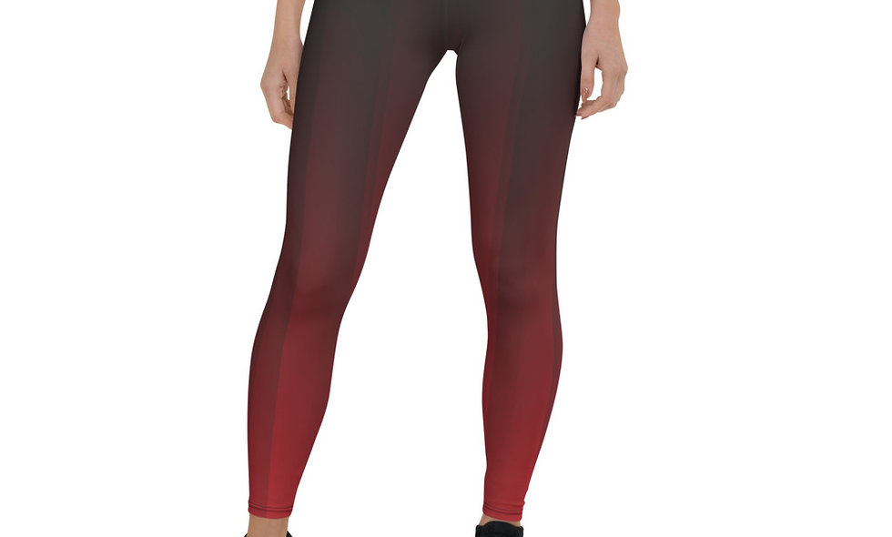 Ombre Red and Black Leggings for Women