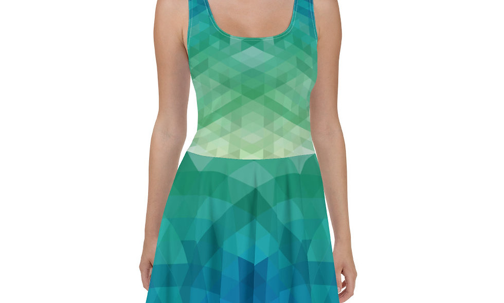 Abstract Triangles Skater Dress - Multi-color Blues and Greens - Unique Dress