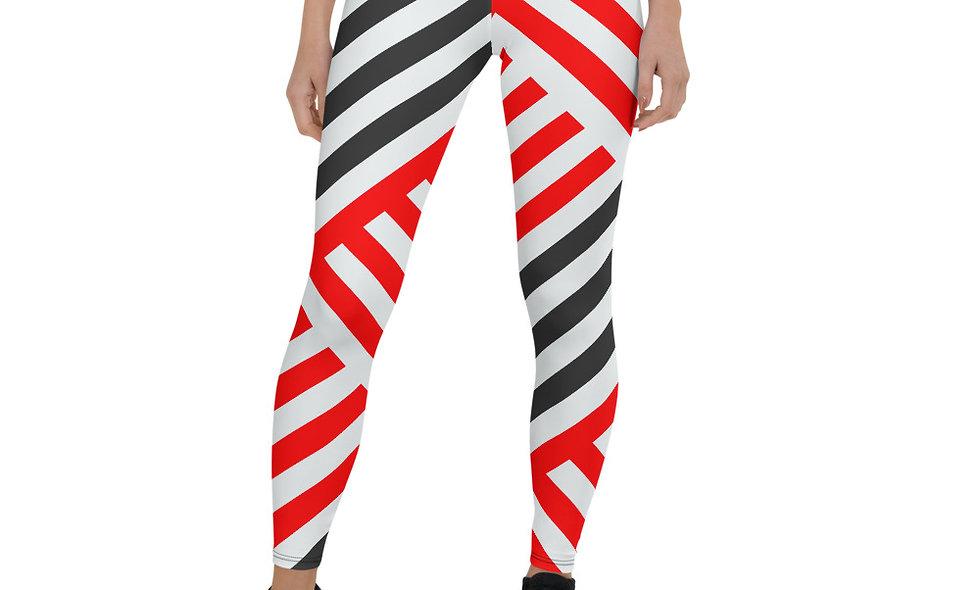 Black, Red, and White Crosshatch Leggings for Women