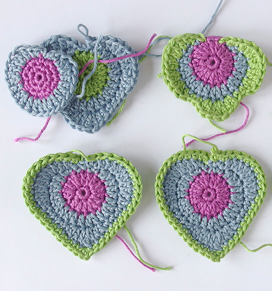 Crochet heart motifs