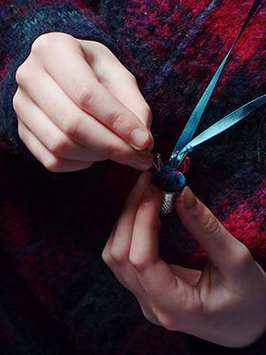 Thimble pin cushion on a ribbon