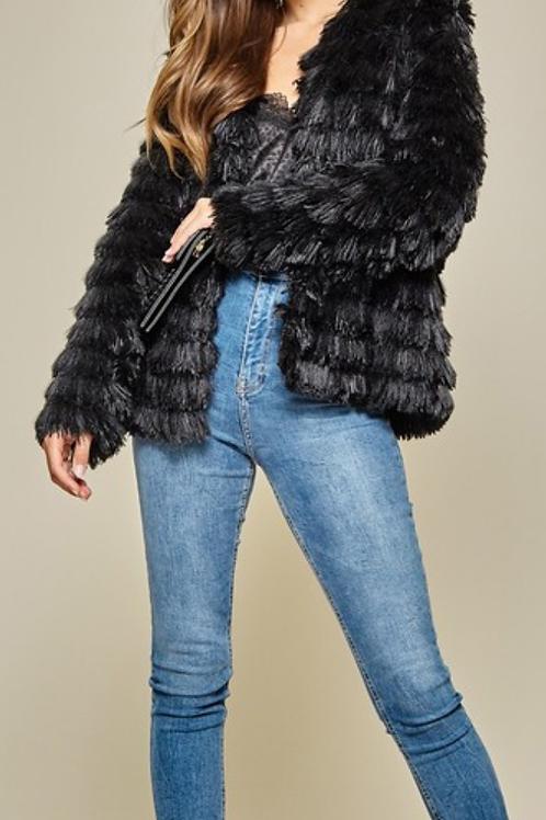 "Black Chopped ""Fur"" Jacket"