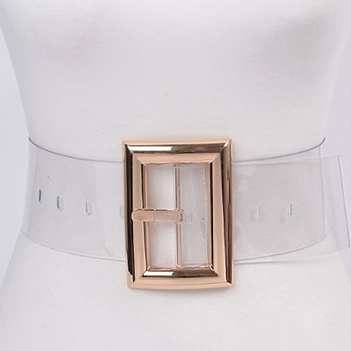 Gold Buckle Clear Belt