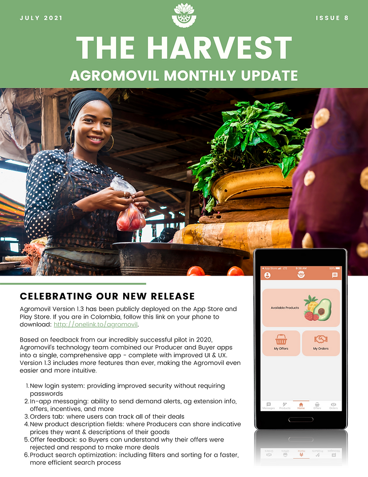 Version 1.3 publicly deployed in Colombia, 100 Comultrasan professionals get V 1.3 sneak peak, Mack talks Agromovil and cold chain with the Dominican Republic, new team members in Colombia, and Agromovil swag.