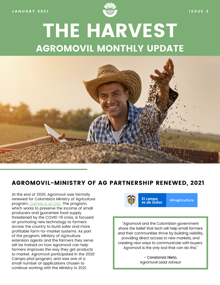 Ministry of Agriculture partnership renewed with Campo a un Clic program, data products geared towards co-ops launching soon, success with Comultrasan partnership throughout 2020