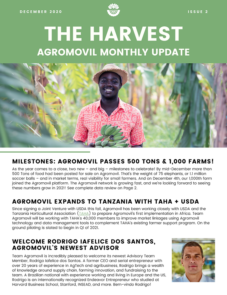 500 tons posted on the platform, expansion to Tanzania with the USDA and TAHA, welcome new advisor: Rodrigo Iafelice, Mack speaks at Concordia summit, and celebrating our 2020 success with a roll-up of our performance stats.