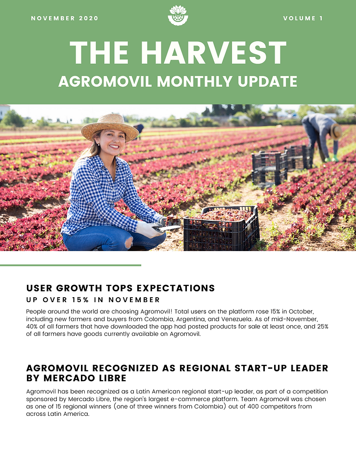 November user growth, MercadoLibre contest, new University of Maryland team, Atlantic Council AgriTech Action conference, and Comultrasan media campaign.