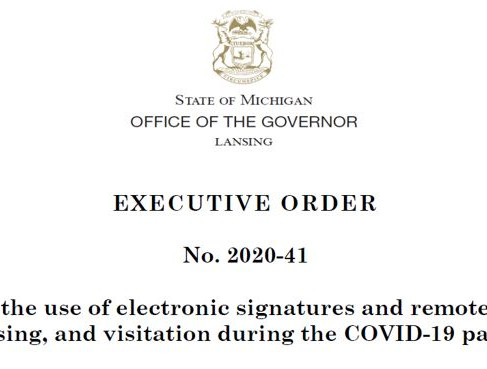 Executive Order No. 2020-41 encourages the use of remote notarization - we can help!