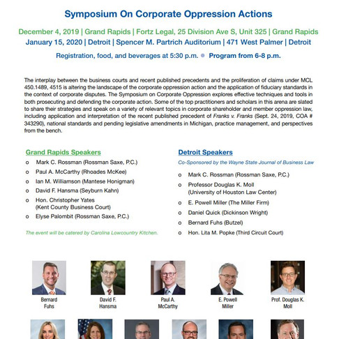 Symposium on Corporate Oppression Actions