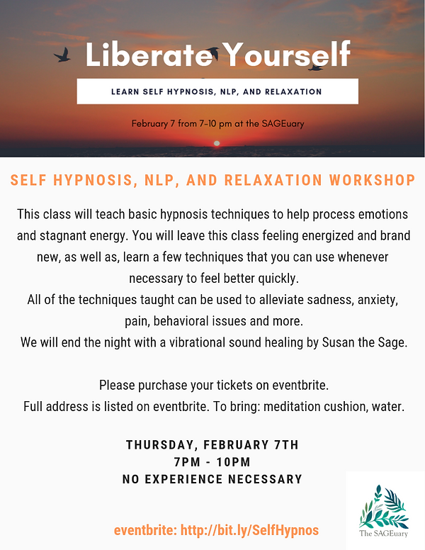 Learn Self Hypnosis, Relaxation Workshop