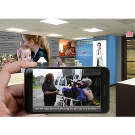 Wellpoint augmented reality lobby design. Each image tells the members unique story.