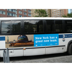 Bus posters littered the streets.