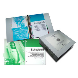 GE Transportation RFP capabilities piece. Aluminum binder/etched metal badge/20 flexible pages.