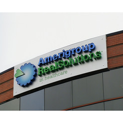 A new logo meant all new signage. This is how it appeared at Amerigroup's corporate headquarters in VA.