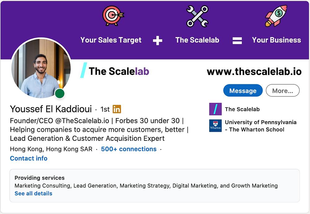 Youssef El Kaddioui LinkedIn Profil Banner highlighting The Scalelab's Value Proposition.