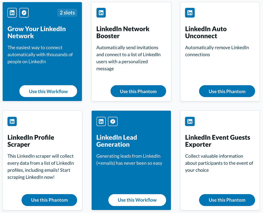 Selection of Phantombuster's lead generation and automation features