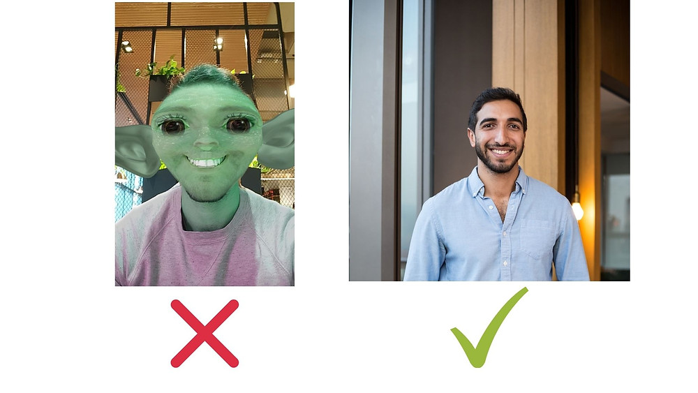 Comparing two profile pictures. One has a Gremlin Instragram filter on (bad example) and the other is a regular smiley head shot (good example)