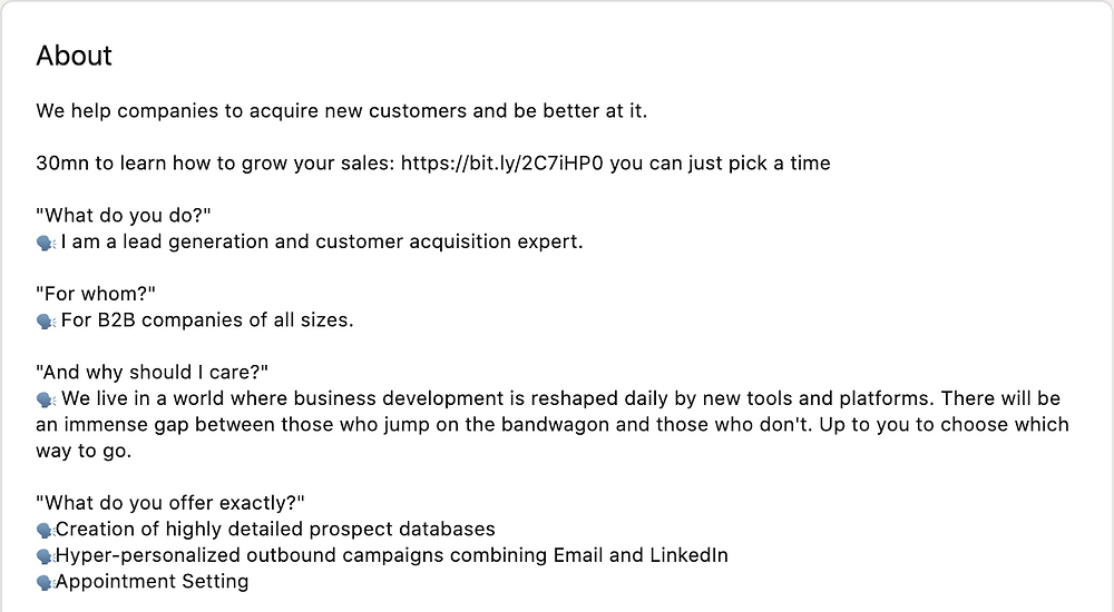 """A LinkedIn """"About Section"""" highlighting clearly offerings and outcomes."""
