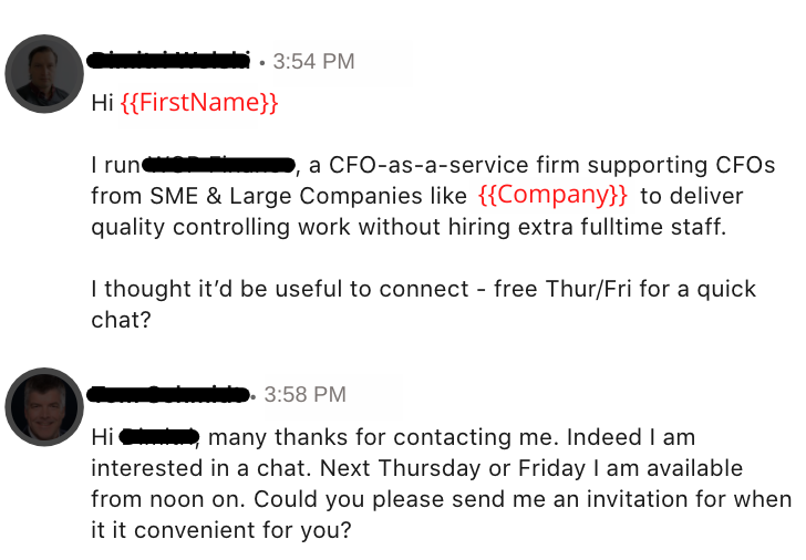 Personalised LinkedIn message example that generates results.