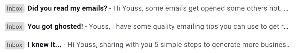 Email Inbox showing titles and text blurb.