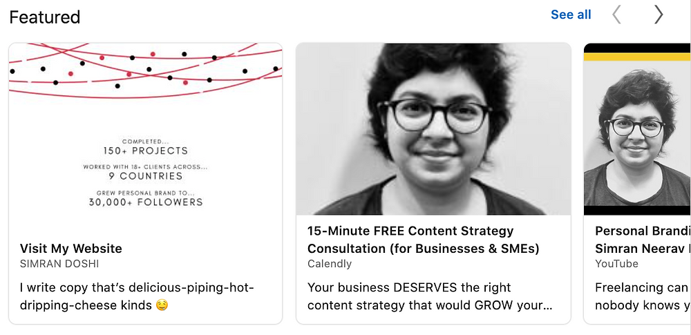 """A LinkedIn """"Featured"""" Section used to highlight a website, a consultation link and a training video."""