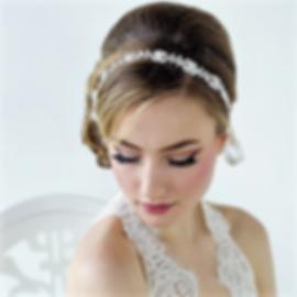 Bride wearing a vintag crystal hair band