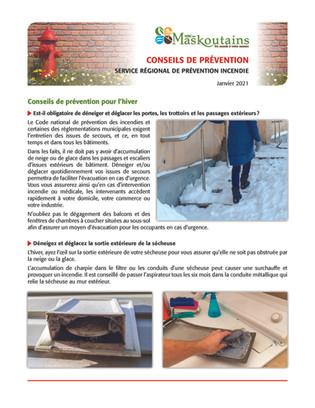 Conseils de prévention pour l'hiver