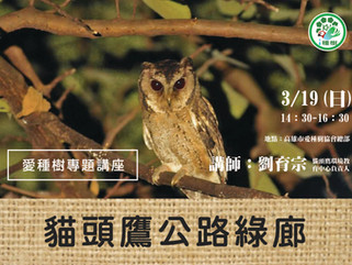 3/19 愛種樹專題講座:貓頭鷹公路綠廊