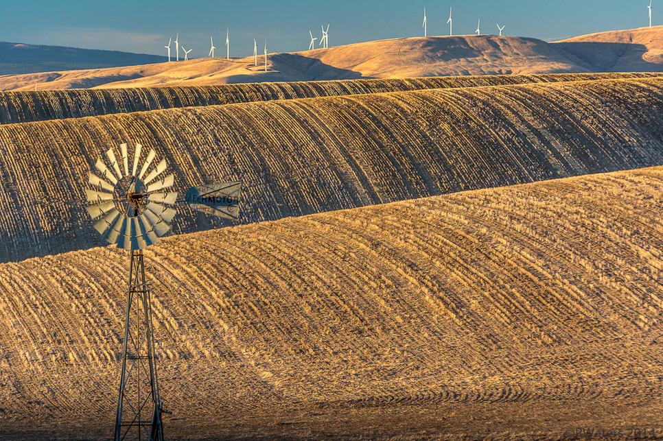 Windmill and Rolling Hills