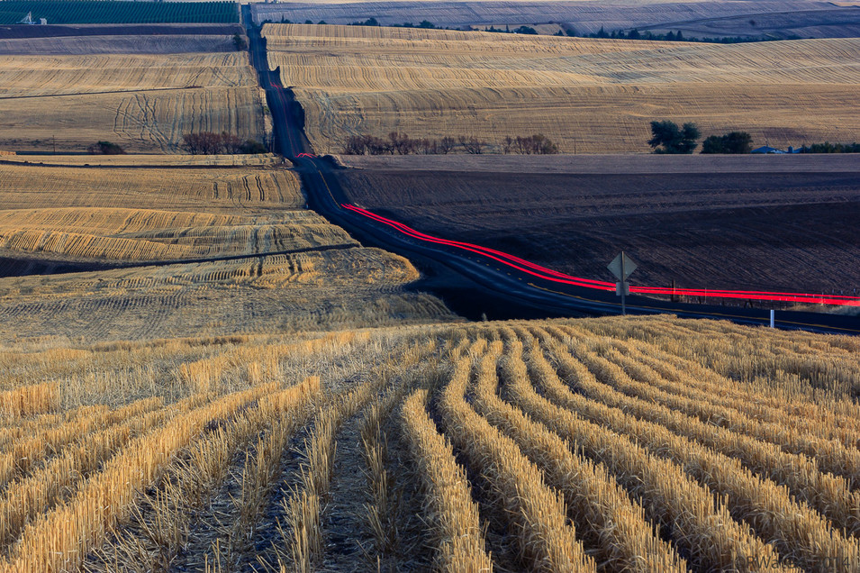 Cut Wheat Fields and Light Trails