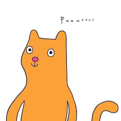 'Puuurrrr!' Orange Cat Card