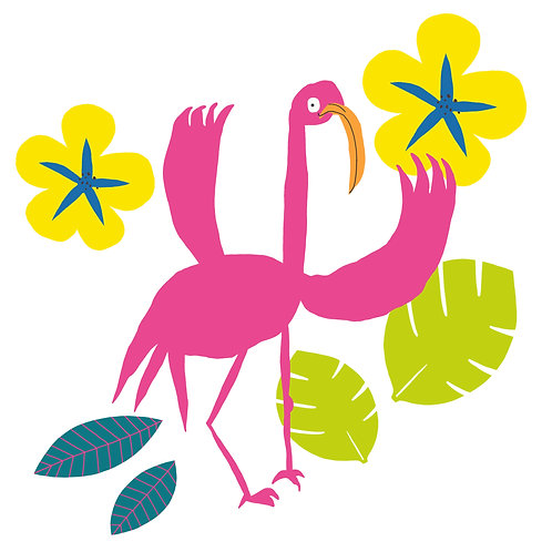 Flamingo & Flowers