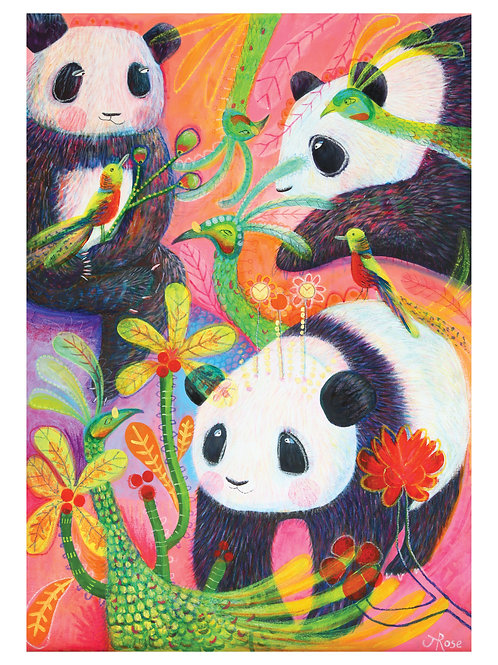 A3 Fine Art, Giclée Print, From My Original Painting, 'Panda And Peacock.'