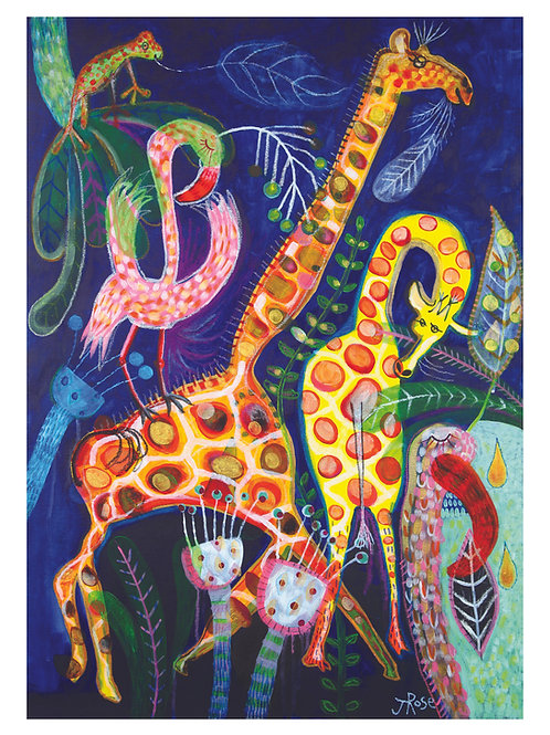 A4 Fine Art, Giclée Print From My Original Painting, 'Giraffe and Flamingo'