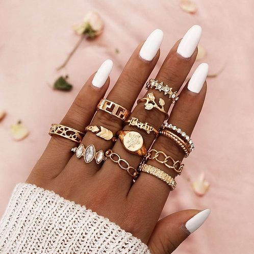 12 Pcs/Set Bohemian Rings Crystal Star Flower Arrow Joint Rings Gold Ring Set